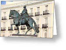 King Charles IIi Statue On Puerta Del Sol Greeting Card
