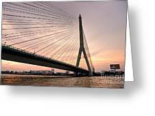 King Rama Bridge Bangkok Greeting Card