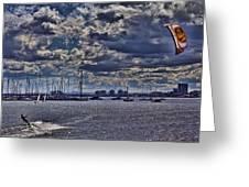 Kite Surfing At St Kilda Beach Greeting Card by Douglas Barnard