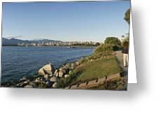 Kitsilano Beach And Vancouver Skyline Greeting Card