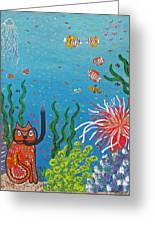 Kittyboy Goes Snorkeling Greeting Card