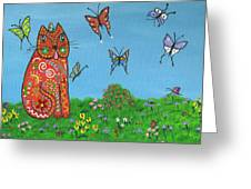 Kittyboy's Butterflies Greeting Card