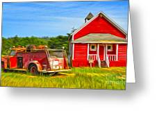 Klamath Old Fire Truck And Red School House Greeting Card by Gregory Dyer