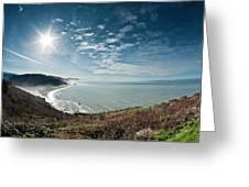 Klamath Overlook With Sun Greeting Card