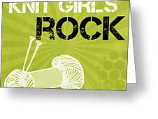 Knit Girls Rock Greeting Card by Linda Woods