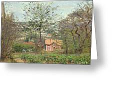 La Maison Rose Greeting Card by Camille Pissarro