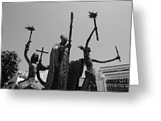 La Rogativa Statue Old San Juan Puerto Rico Black And White Greeting Card