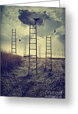 Ladders Reaching To The Sky In A Autumn Field Greeting Card