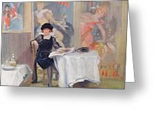 Lady At A Cafe Table  Greeting Card