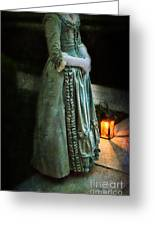 Lady By Lantern Light Greeting Card