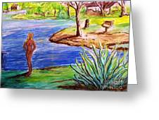 Lady By The Lake Greeting Card
