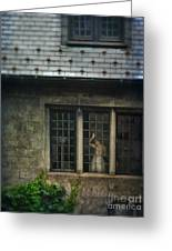 Lady By Window Of Tudor Mansion Greeting Card