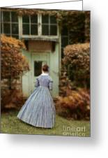 Lady In 19th Century Clothing By Conservatory Greeting Card