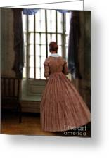 Lady In 19th Century Clothing Looking Out Window Greeting Card