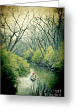 Lady In A Row Boat On A River Greeting Card