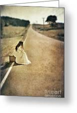 Lady In Gown Sitting By Road On Suitcase Greeting Card