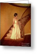 Lady In Lace Gown On Staircase Greeting Card