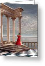 Lady In Red Gown By The Sea Greeting Card