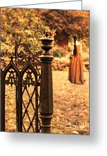 Lady In Renaissance Dress By Open Gate Greeting Card