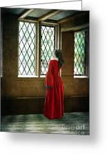 Lady In Tudor Gown Looking Out A Window Greeting Card