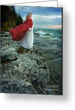 Lady In Vintage Clothing By The Sea Greeting Card
