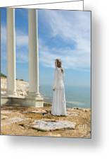 Lady In White By The Sea Greeting Card