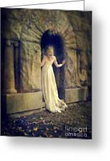 Lady In White Gown In Doorway Greeting Card