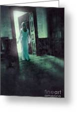 Lady In White Gown Walking Through A Mysterious Doorway Greeting Card