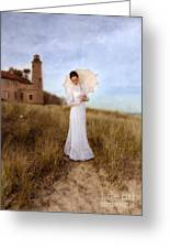 Lady In White With Parasol By The Sea Greeting Card