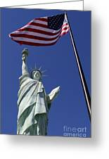 Lady Liberty And Us Flag Greeting Card
