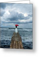 Lady On Dock In Storm Greeting Card