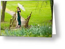 Lady On The Bridge Greeting Card