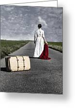 Lady On The Road Greeting Card