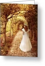 Lady Walking In Tree Tunnel In Garden Greeting Card