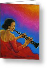 Lady With A Clarinet Greeting Card by Terry Jackson