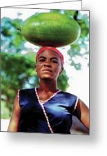 Lady With Calbace On Head Greeting Card