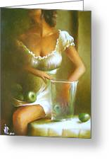 Lady With Green Apples Greeting Card