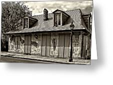 Lafittes Blacksmith Shop Bar In Sepia Greeting Card