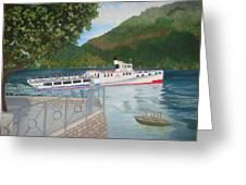 Lago Di Como Ferry Greeting Card by Linda Scott