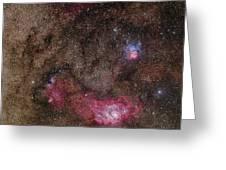 Lagoon Nebula And Trifid Nebula Greeting Card