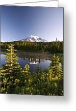 Lake And Mount Rainier, Mount Rainier Greeting Card