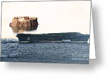 Lake Bottom Boat Greeting Card by Ron Hoggard