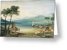 Lake Geneva And Mont Blanc Greeting Card by Joseph Mallord William Turner