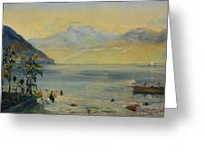 Lake Leman With The Dents Du Midi In The Distance Greeting Card by John William Inchbold