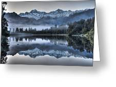 Lake Matheson In Predawn Winter Light Greeting Card