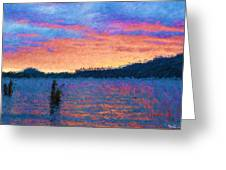 Lake Quinault Sunset - Impressionism Greeting Card