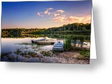 Lake View Row Boat Greeting Card