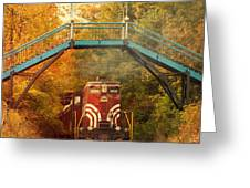 Lake Winnipesaukee New Hampshire Railroad Train In Autumn Foliage Greeting Card