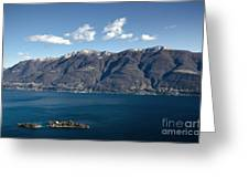 lake with Brissago islands and snow-capped mountain Greeting Card