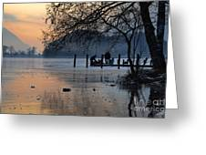 Lake With Ice In Sunset Greeting Card